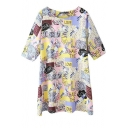 Graffiti Print Round Neck 1/2 Sleeve Dress