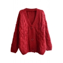 Plain V-Neck Batwing Cable Knitted Loose Cardigan
