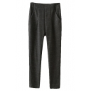 Dark Gray Plaid Pattern High Waist Pencil Pants
