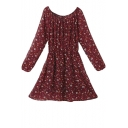 Floral Print Round Neck Long Sleeve Babydoll Dress with Elastic Waist