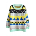 Color Block Style Geometric Jacquard Pattern Round Neck Long Sleeve Sweater