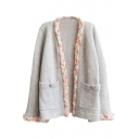 Gray Colorful Cable Knit Open Front Long Sleeve Pockets Cardigan