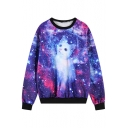 Fantastic Purple Background Kitty Print Round Neck Sweatshirt