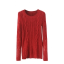 Plain Cable Knit Long Sleeve Sweater with Round Neckline and Elbow Patch