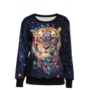 Tiger Head Print Round Neck Sweatshirt with Long Sleeve