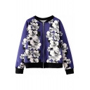 Purple Raglan Sleeve White Floral Print Zipper Jacket