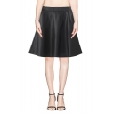 Plain Elastic Waist Leather Full Skirt with Side Zipper