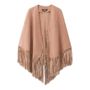 Plain Sleeveless Open Front Leather Poncho with Tassel Hem