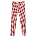 Red and White Heart Print Zipper Fly Skinny Pants