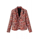 Red Floral Print Lapel Collar Single-Breast Pockets Blazer
