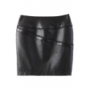 Black PU High Rise Plain Zipper Fly Pencil Mini Skirt