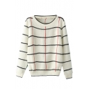 Concise Contrast Trim Tri Color Plaid Pattern Long Sleeve Sweater