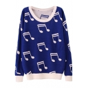 Music Symbol Pattern Contrast Trim Round Neck Sweater