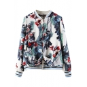 Carnation Plants Print Stand-Up Collar Zippered Front Ribbed Cuff Jacket