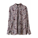 Cashew Print Lapel Single Breast Long Sleeve Tunic Blouse