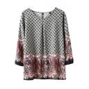 Geometric and Totem Print 3/4 Sleeve Round Neck Blouse