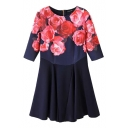 Navy Background Rose Print Round Neck 1/2 Sleeve Zipper Back Fit and Fare Dress