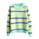 Colorful Plaid Jacquard Round Neck Long Sleeve Sweater