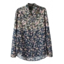 Navy Ombre Floral Print Lapel Single Breast Long Sleeve Blouse
