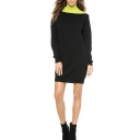 Lemon Color Block Roll Neck Drop Sleeve Column Knitted Dress