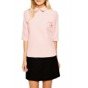 Pink Peter Pan Collar 1/2 Sleeve Cutout Back Blouse