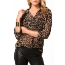 Leopard Print Long Sleeve Point Collar Single-Breasted Shirt