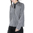Black Gingham Pattern Ruffle Trim Collar Blouse with Tassel Drawstring