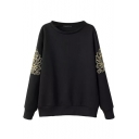 Embroidered Flower Round Neck Sweatshirt with Beaded Sleeve
