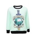 Cartoon Print Round Neck Long Sleeve Sweatshirt