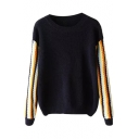 Colorful Stripe Long Sleeve Round Neck Sweater