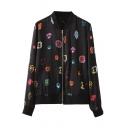 Colorful Gem Print Stand Collar Zipper Fly Jackst