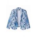 Blue Bird Print 3/4 Sleeve Blazer with Lapel