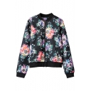 Colorful Floral Print Stand Collar Zipper Fly Jacket