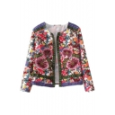 Floral Print Long Sleeve Open Front Coat with Jacquard Trims