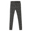 Mono Gingham Pattern Zipper Fly Slim Leg Pants
