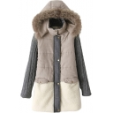 Color Block Suede Knitted Sleeve Panel Zip Fly Coat with Fluffy Hood