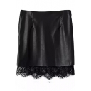Black PU Hem Insert Zipper Fly Tube Mini Skirt