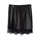 Black PU Hem Insert Zipper Fly Tube Mini Skirt