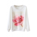 Round Neck Water Color Red Flower Print Long Sleeve Sweatshirt