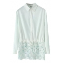 Plain Long Sleeve Lapel Shirt with Lace Panel Bottom and Drawstring