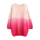 Elegant Ombre Round Neck Long Sleeve Mohair Sweater