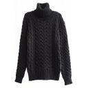 Vintage Fitted Cable Knit High Neck Long Sleeve Mohair Sweater