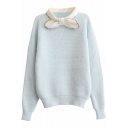 Preppy Look Bow Stand Collar Long Sleeve Fitted Sweater