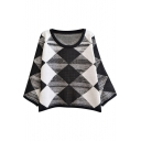 Black&White&Gray Color Block Argyle Pattern Batwing Sleeve Round Neck Sweater