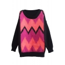 Color Block Sleeve Pink Omber Front Round Neck Sweater