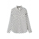 White Background Apple Print Lapel Single-Breast Long Sleeve Blouse