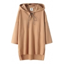 3/4 Batwing Sleeve Plain V-neck Step Hem Loose Hoodie with Drawstring
