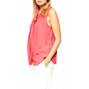Red Plain Bow Collar Sleeveless Chiffon Blouse