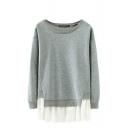 Plain Long Sleeve Sweatshirt with Round Neckline and Draped Mesh Hem