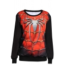 Spider Man Print Round Neck Long Sleeve Sweatshirt